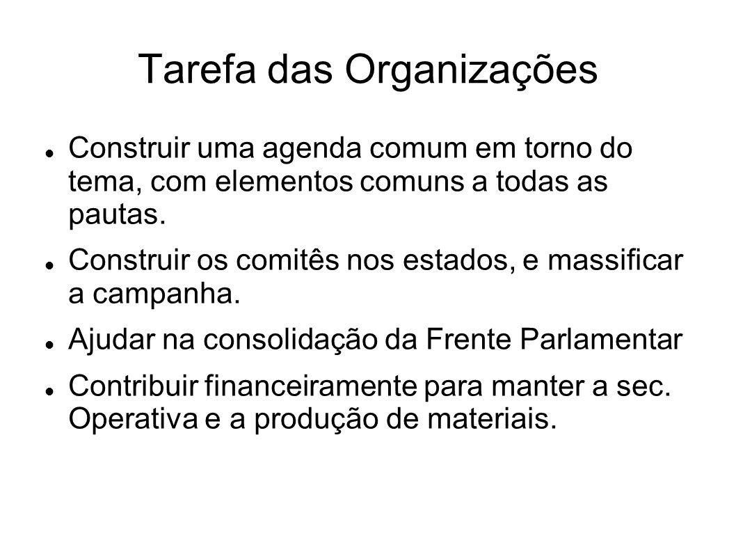 Tarefa das Organizações Construir uma agenda comum em torno do tema, com elementos comuns a todas as pautas.