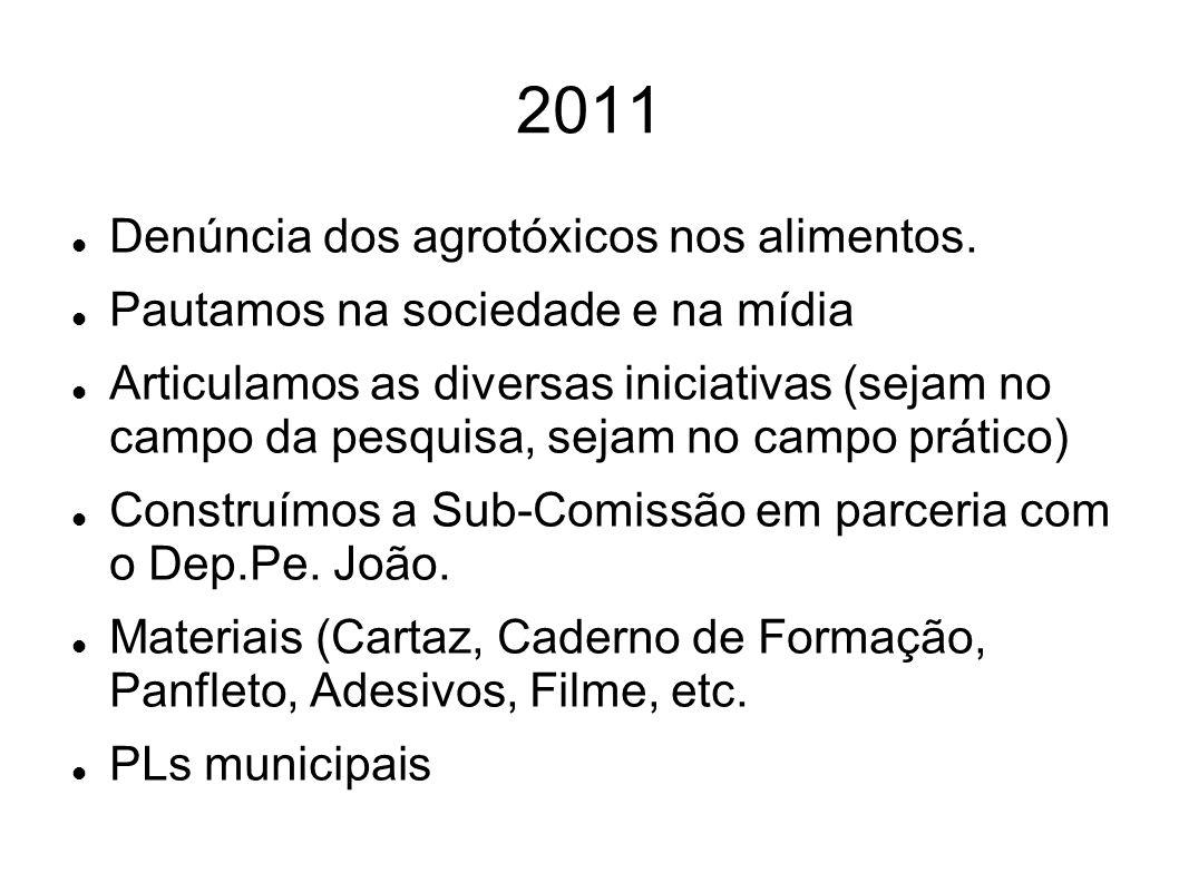 2011 Denúncia dos agrotóxicos nos alimentos.