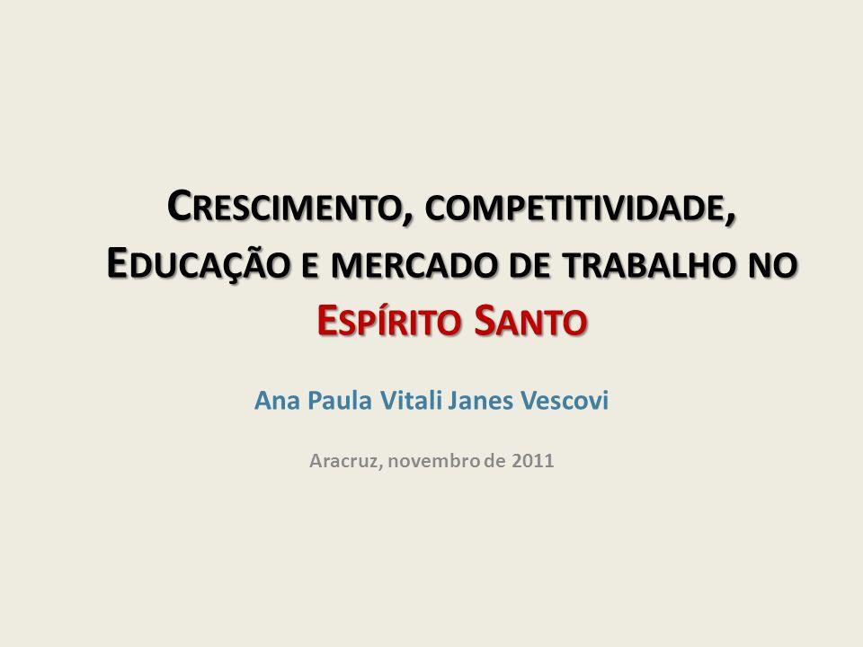 C RESCIMENTO, COMPETITIVIDADE, E DUCAÇÃO E MERCADO DE TRABALHO NO E SPÍRITO S ANTO Ana Paula Vitali Janes Vescovi Aracruz, novembro de 2011