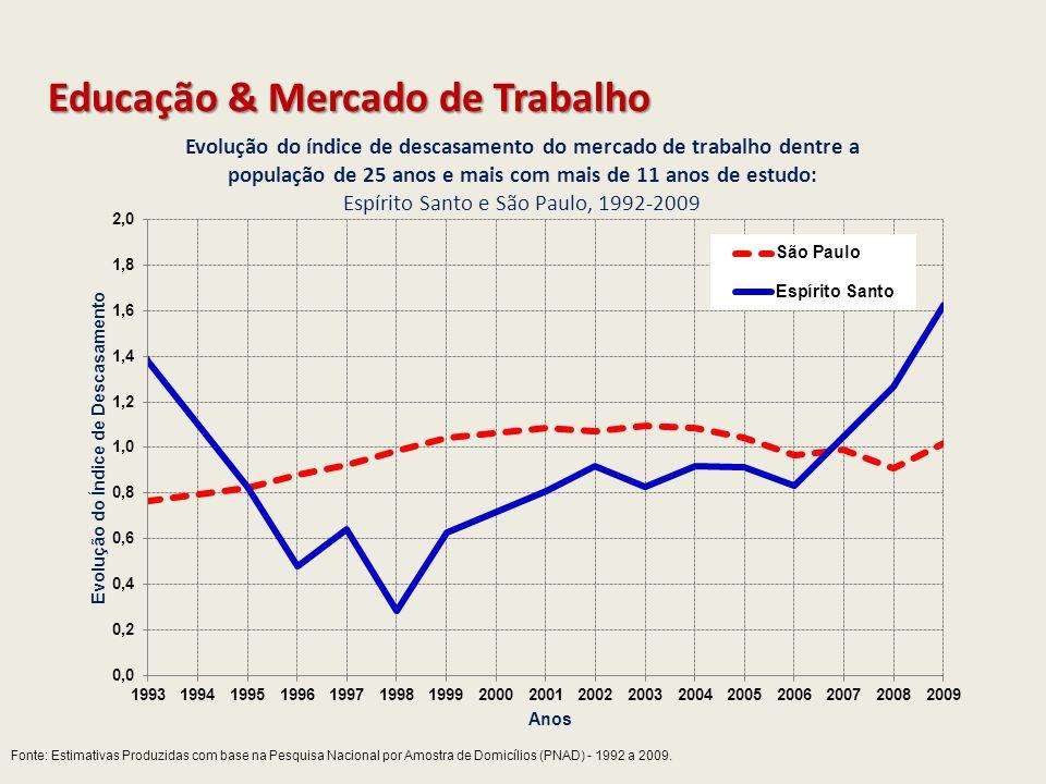 Fonte: Estimativas Produzidas com base na Pesquisa Nacional por Amostra de Domicílios (PNAD) - 1992 a 2009. Educação & Mercado de Trabalho
