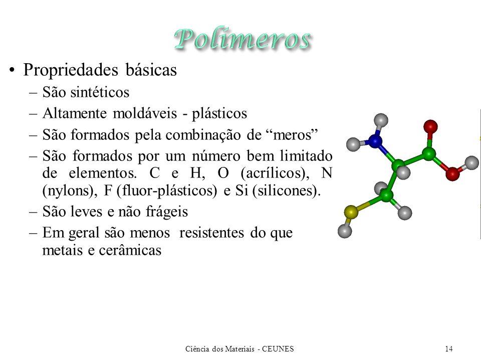 Ciência dos Materiais - CEUNES14 Propriedades básicas –São sintéticos –Altamente moldáveis - plásticos –São formados pela combinação de meros –São for