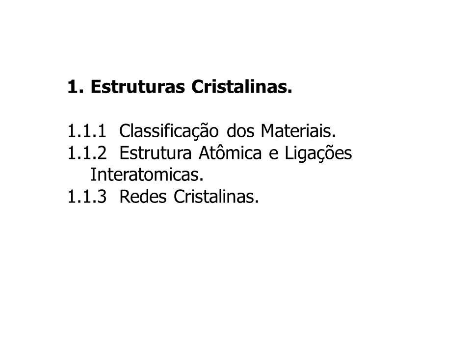 1.Estruturas Cristalinas. 1.1.1 Classificação dos Materiais. 1.1.2 Estrutura Atômica e Ligações Interatomicas. 1.1.3 Redes Cristalinas.