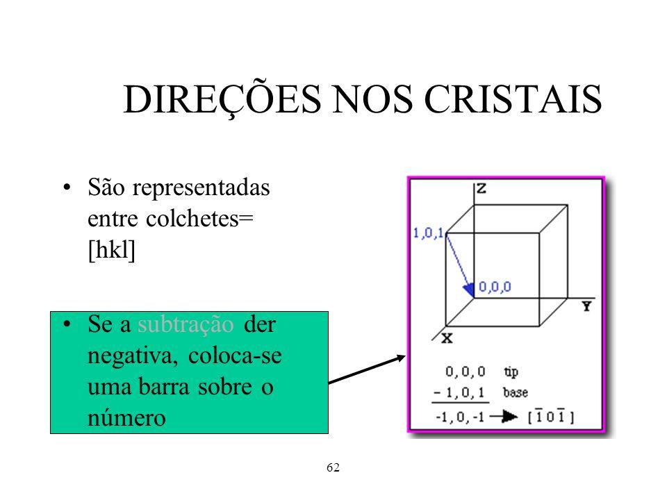 62 DIREÇÕES NOS CRISTAIS São representadas entre colchetes= [hkl] Se a subtração der negativa, coloca-se uma barra sobre o número