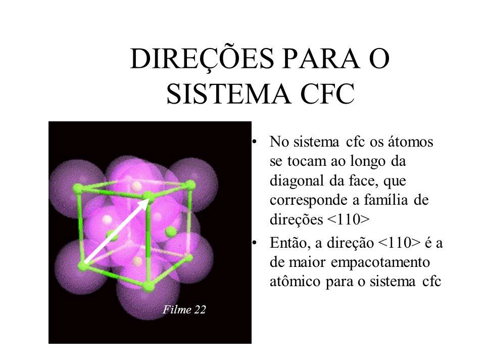 68 DIREÇÕES PARA O SISTEMA CFC No sistema cfc os átomos se tocam ao longo da diagonal da face, que corresponde a família de direções Então, a direção