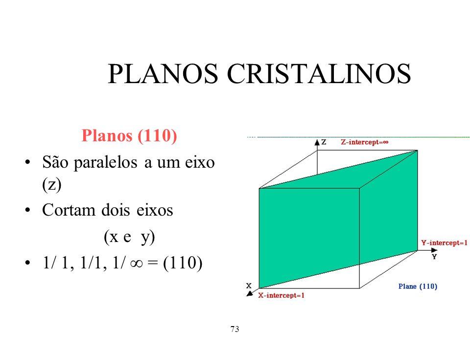 73 PLANOS CRISTALINOS Planos (110) São paralelos a um eixo (z) Cortam dois eixos (x e y) 1/ 1, 1/1, 1/ = (110)