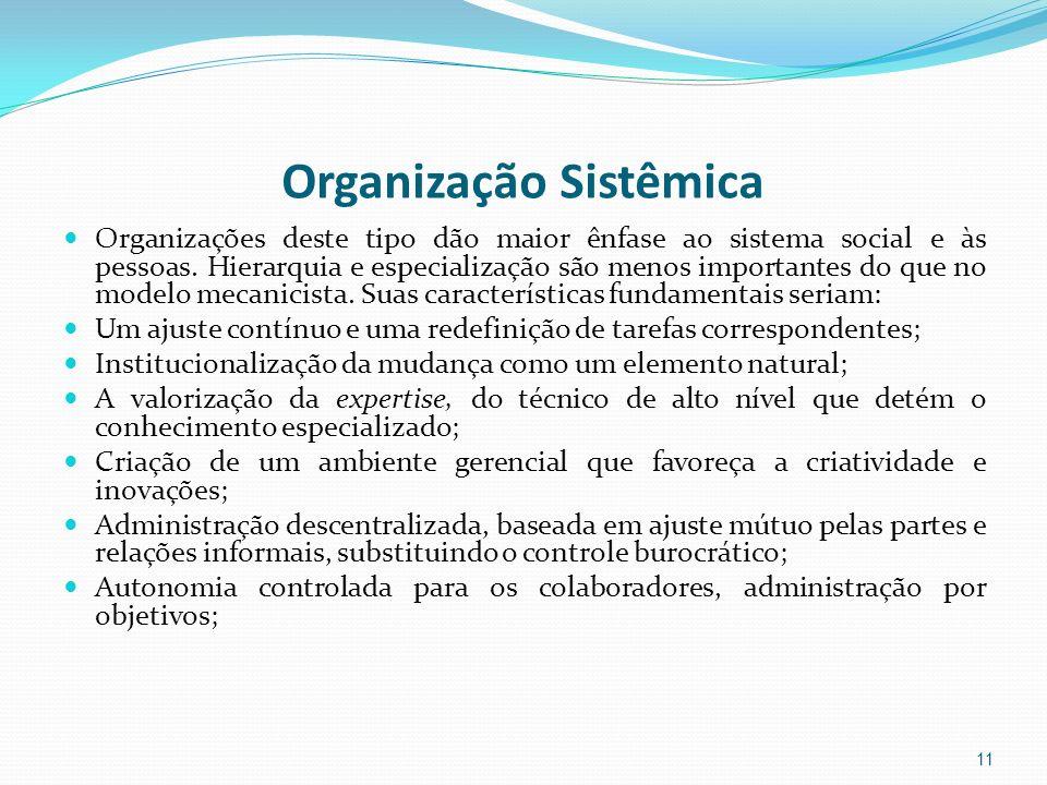 Organização Sistêmica Organizações deste tipo dão maior ênfase ao sistema social e às pessoas. Hierarquia e especialização são menos importantes do qu