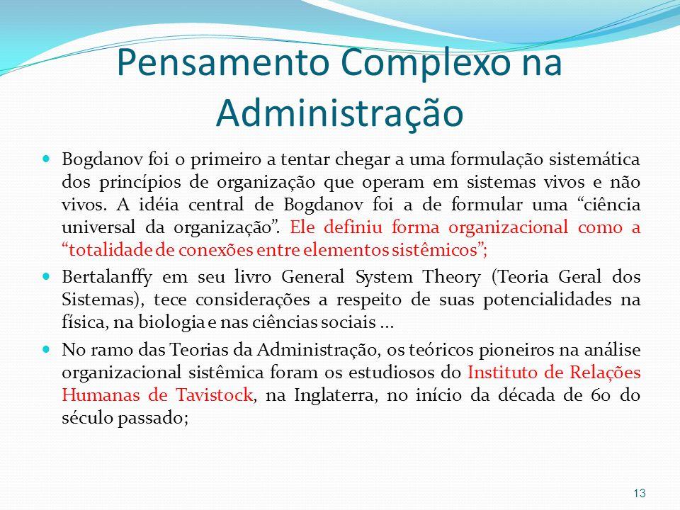 Pensamento Complexo na Administração Bogdanov foi o primeiro a tentar chegar a uma formulação sistemática dos princípios de organização que operam em