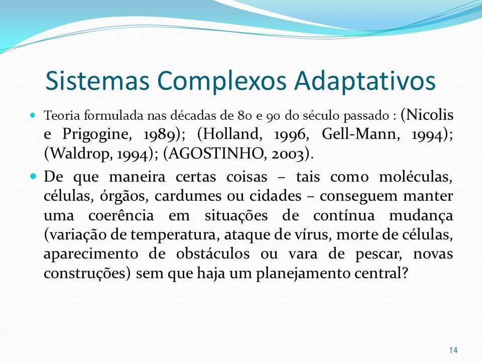 Sistemas Complexos Adaptativos Teoria formulada nas décadas de 80 e 90 do século passado : (Nicolis e Prigogine, 1989); (Holland, 1996, Gell-Mann, 199