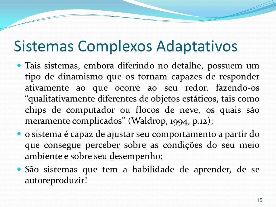 Sistemas Complexos Adaptativos Tais sistemas, embora diferindo no detalhe, possuem um tipo de dinamismo que os tornam capazes de responder ativamente