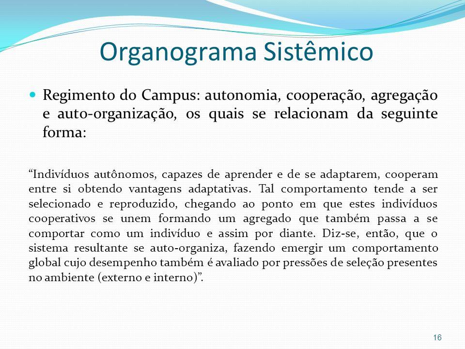 Regimento do Campus: autonomia, cooperação, agregação e auto-organização, os quais se relacionam da seguinte forma: Indivíduos autônomos, capazes de a