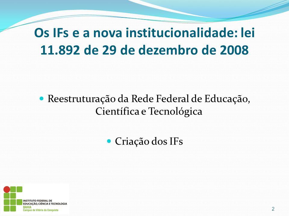 Os IFs e a nova institucionalidade: lei 11.892 de 29 de dezembro de 2008 Reestruturação da Rede Federal de Educação, Científica e Tecnológica Criação