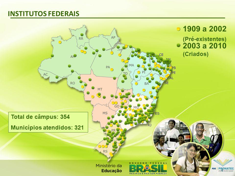 INSTITUTOS FEDERAIS Total de câmpus: 354 Municípios atendidos: 321 1909 a 2002 (Pré-existentes) 2003 a 2010 (Criados) 4