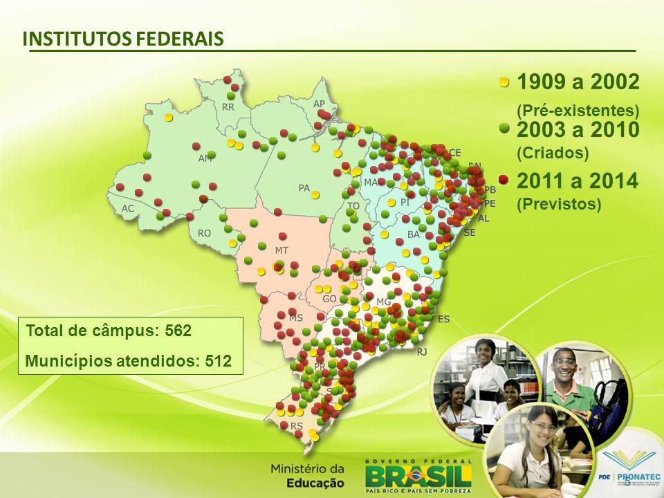 INSTITUTOS FEDERAIS Total de câmpus: 562 Municípios atendidos: 512 2011 a 2014 (Previstos) 1909 a 2002 (Pré-existentes) 2003 a 2010 (Criados) 5