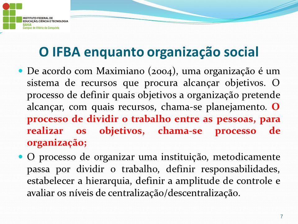 O IFBA enquanto organização social De acordo com Maximiano (2004), uma organização é um sistema de recursos que procura alcançar objetivos. O processo