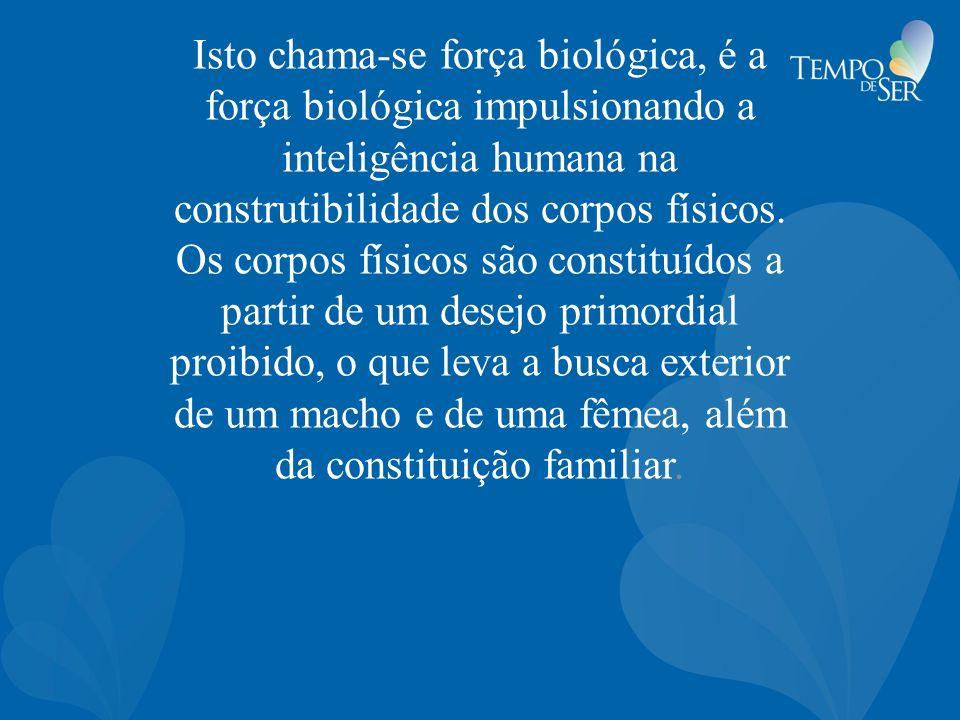 Isto chama-se força biológica, é a força biológica impulsionando a inteligência humana na construtibilidade dos corpos físicos. Os corpos físicos são