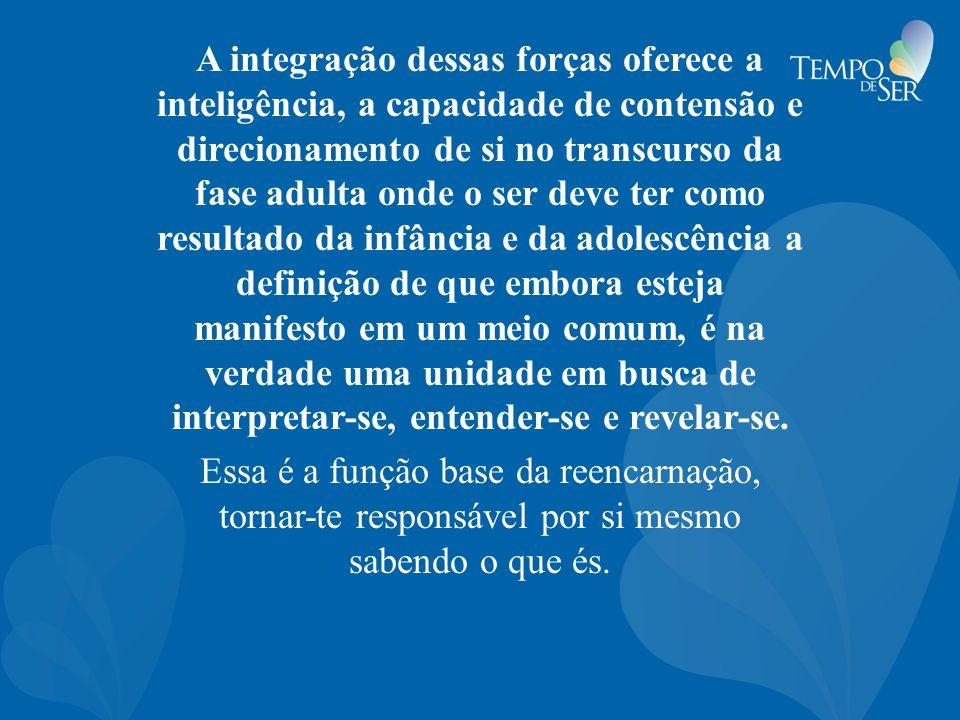 A integração dessas forças oferece a inteligência, a capacidade de contensão e direcionamento de si no transcurso da fase adulta onde o ser deve ter c