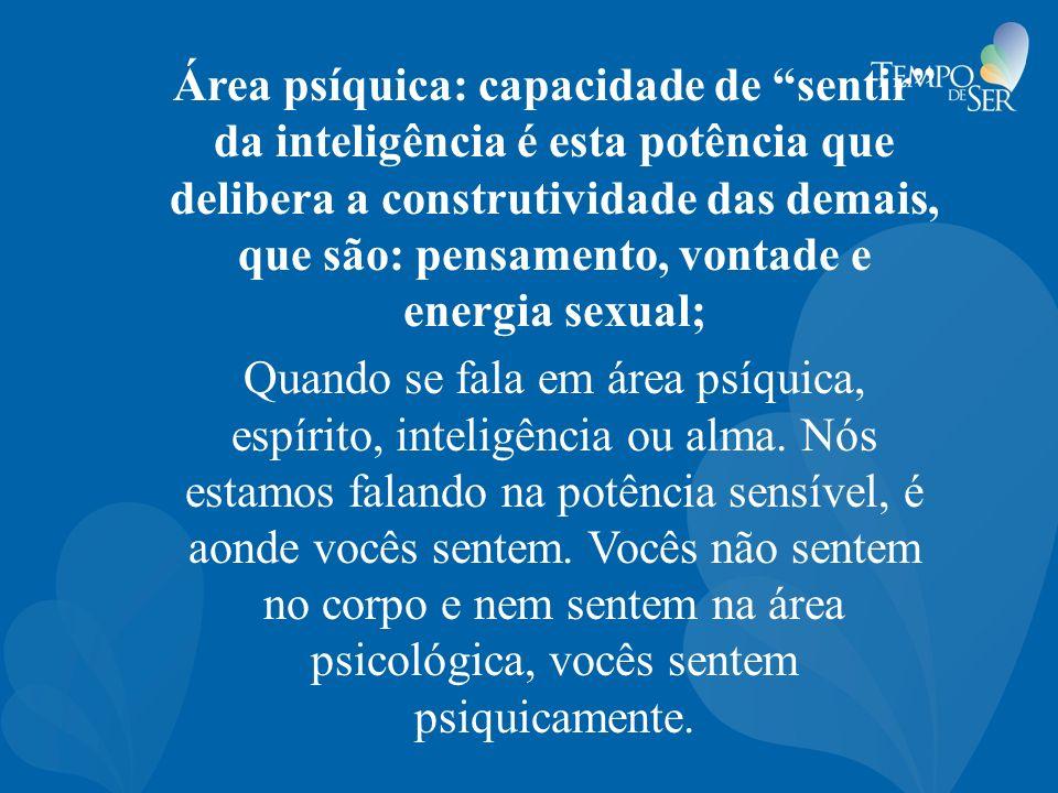 Área psíquica: capacidade de sentir da inteligência é esta potência que delibera a construtividade das demais, que são: pensamento, vontade e energia