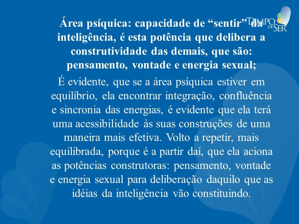 Área psíquica: capacidade de sentir da inteligência, é esta potência que delibera a construtividade das demais, que são: pensamento, vontade e energia