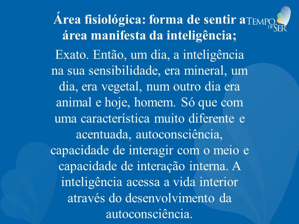 Área fisiológica: forma de sentir a área manifesta da inteligência; Exato. Então, um dia, a inteligência na sua sensibilidade, era mineral, um dia, er