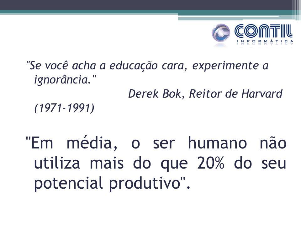 Se você acha a educação cara, experimente a ignorância. Derek Bok, Reitor de Harvard (1971-1991) Em média, o ser humano não utiliza mais do que 20% do seu potencial produtivo .