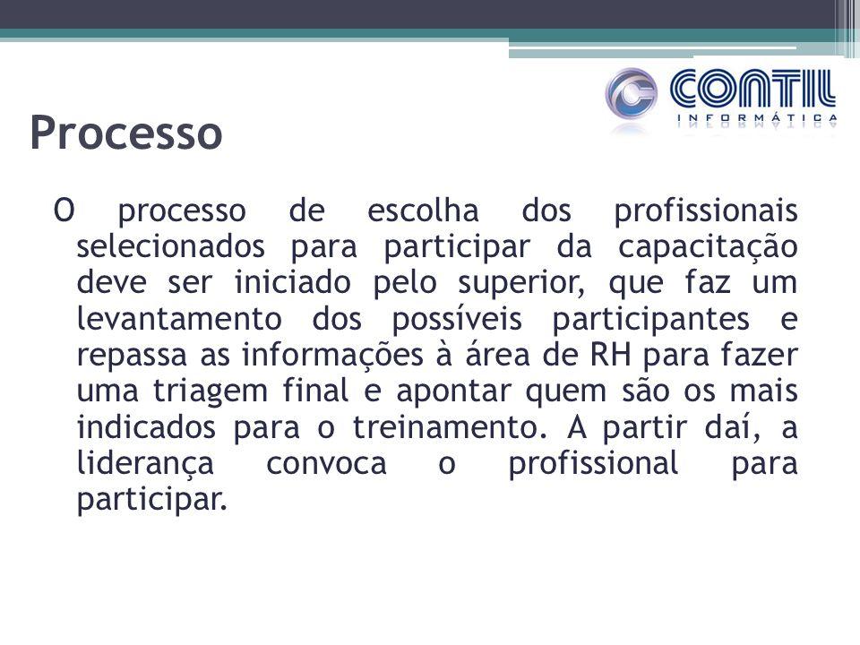 Processo O processo de escolha dos profissionais selecionados para participar da capacitação deve ser iniciado pelo superior, que faz um levantamento