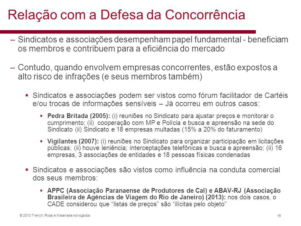 © 2013 Trench, Rossi e Watanabe Advogados –Sindicatos e associações desempenham papel fundamental - beneficiam os membros e contribuem para a eficiênc