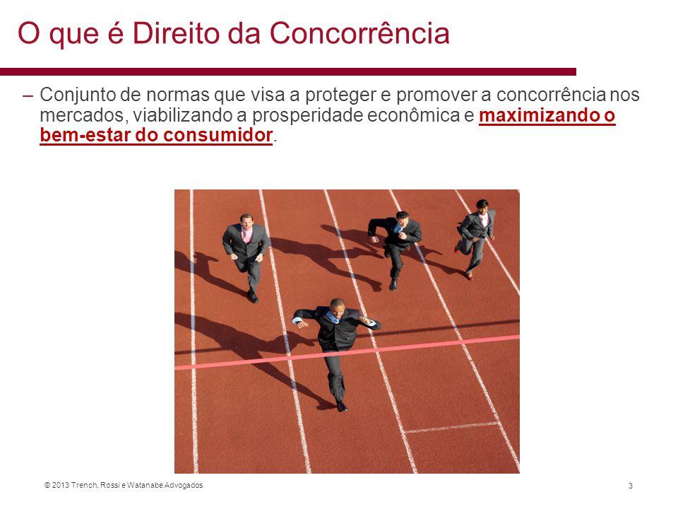 © 2013 Trench, Rossi e Watanabe Advogados O que é Direito da Concorrência –Conjunto de normas que visa a proteger e promover a concorrência nos mercad