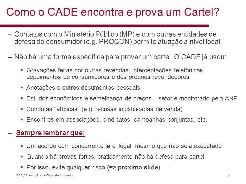 © 2013 Trench, Rossi e Watanabe Advogados Como o CADE encontra e prova um Cartel? –Contatos com o Ministério Público (MP) e com outras entidades de de