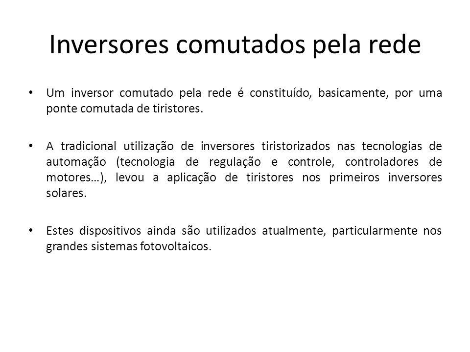 Inversores comutados pela rede Um inversor comutado pela rede é constituído, basicamente, por uma ponte comutada de tiristores. A tradicional utilizaç