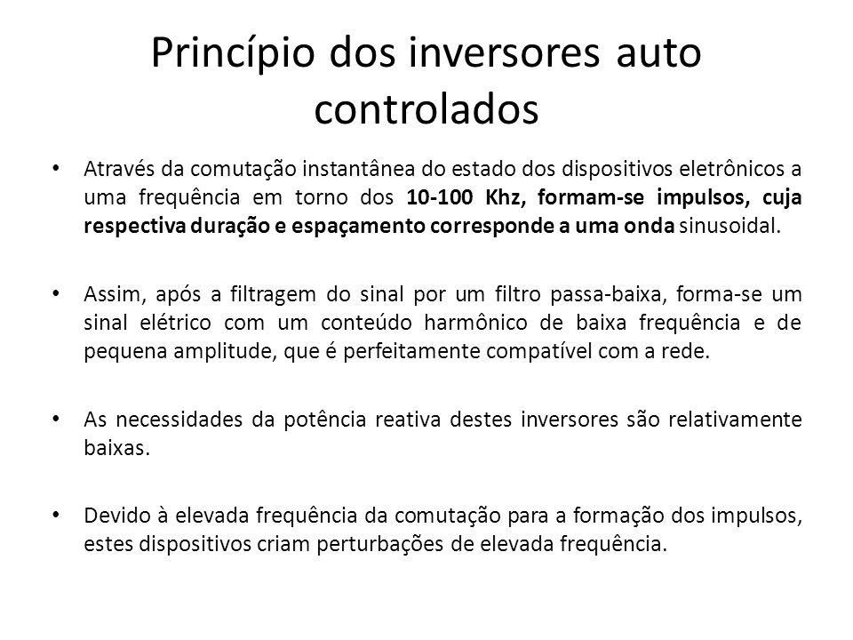 Princípio dos inversores auto controlados Através da comutação instantânea do estado dos dispositivos eletrônicos a uma frequência em torno dos 10-100