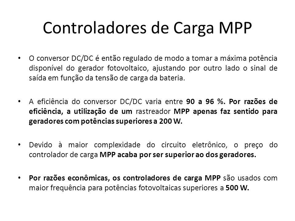 Controladores de Carga MPP O conversor DC/DC é então regulado de modo a tomar a máxima potência disponível do gerador fotovoltaico, ajustando por outr