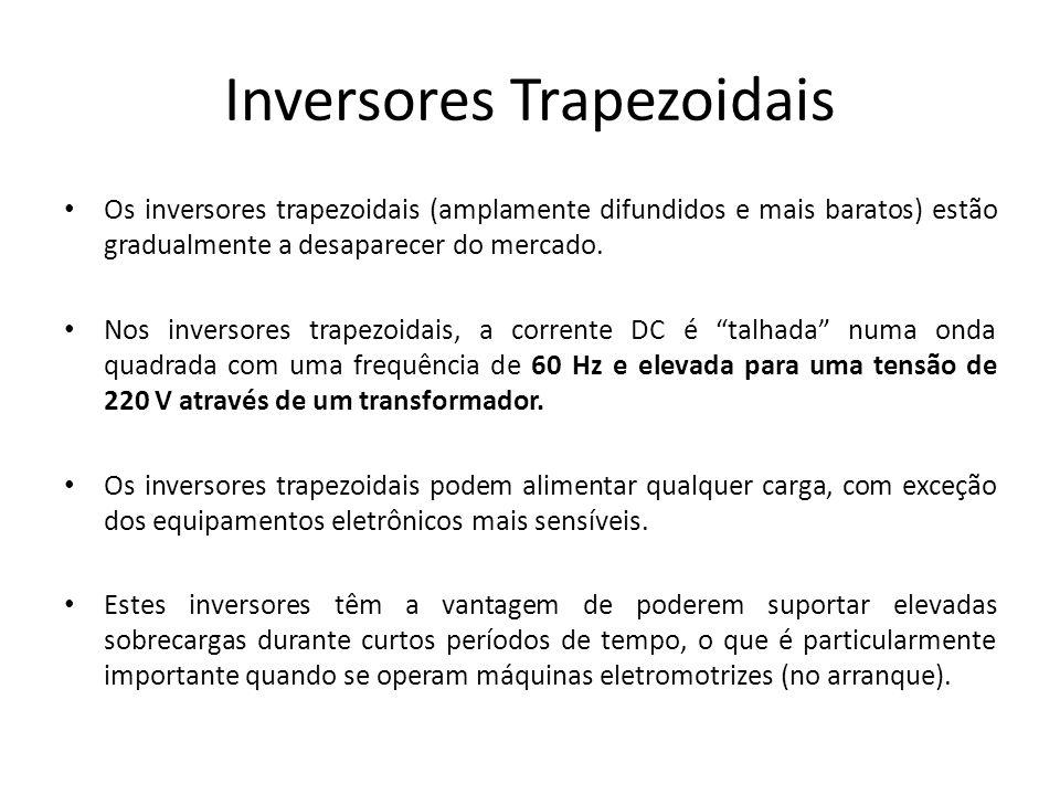 Inversores Trapezoidais Os inversores trapezoidais (amplamente difundidos e mais baratos) estão gradualmente a desaparecer do mercado. Nos inversores