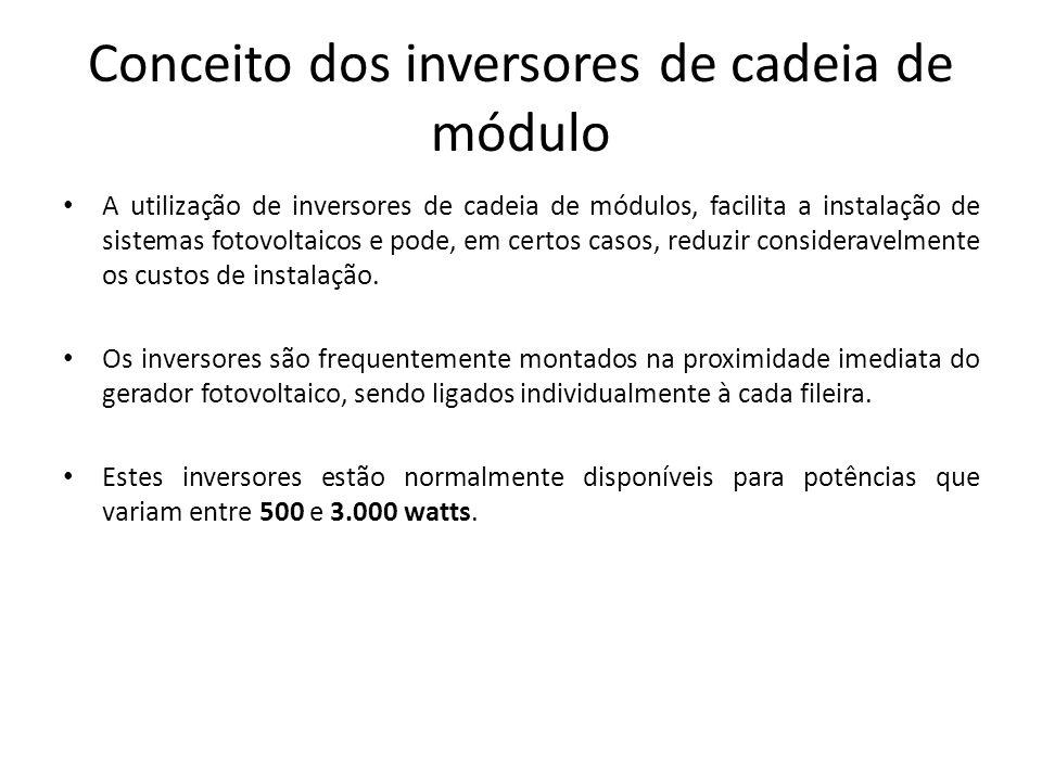 Conceito dos inversores de cadeia de módulo A utilização de inversores de cadeia de módulos, facilita a instalação de sistemas fotovoltaicos e pode, e