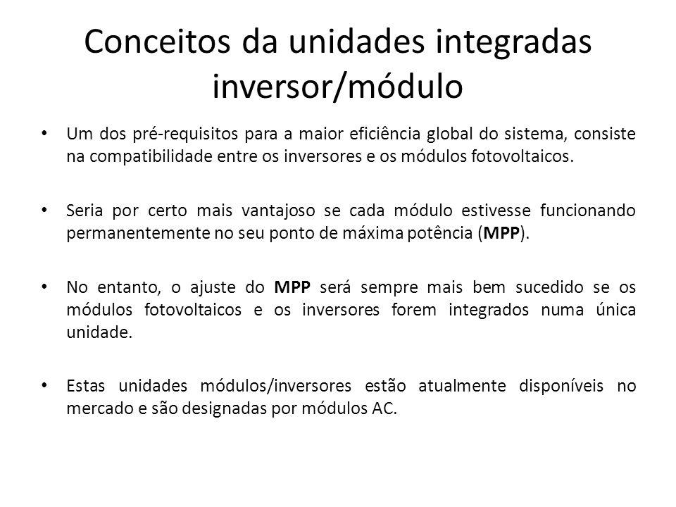 Conceitos da unidades integradas inversor/módulo Um dos pré-requisitos para a maior eficiência global do sistema, consiste na compatibilidade entre os