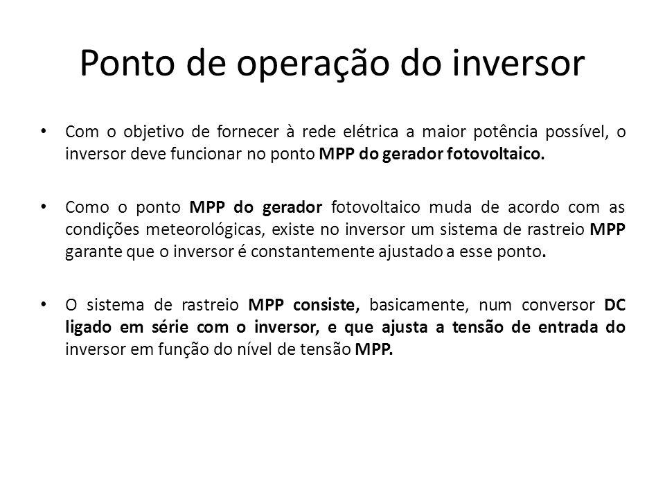 Ponto de operação do inversor Com o objetivo de fornecer à rede elétrica a maior potência possível, o inversor deve funcionar no ponto MPP do gerador