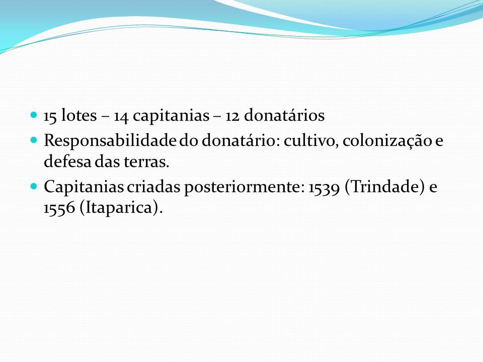15 lotes – 14 capitanias – 12 donatários Responsabilidade do donatário: cultivo, colonização e defesa das terras.