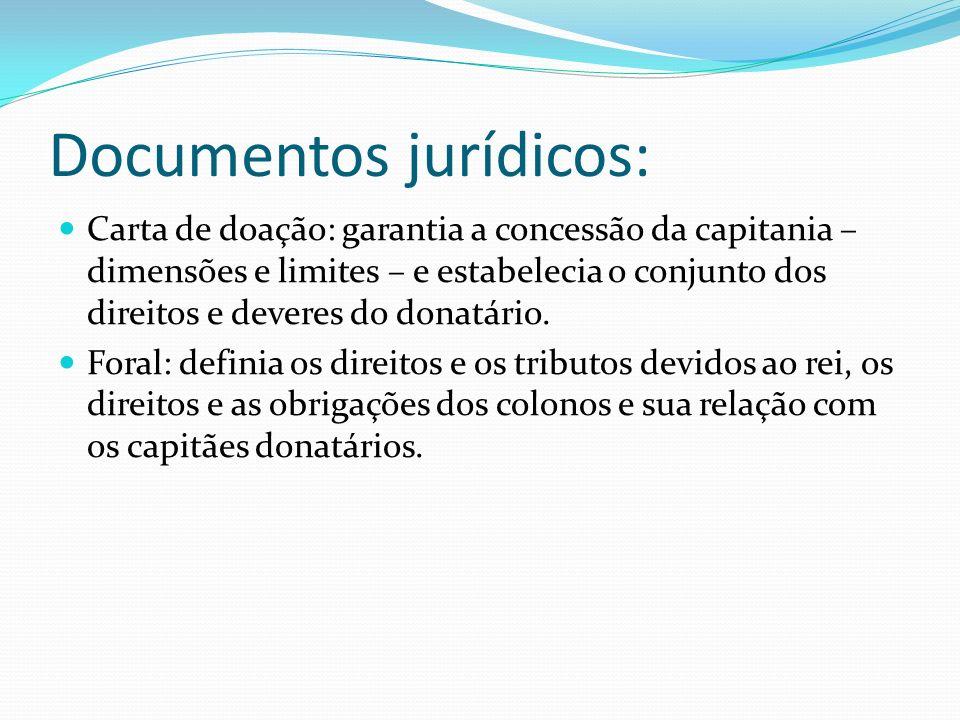Documentos jurídicos: Carta de doação: garantia a concessão da capitania – dimensões e limites – e estabelecia o conjunto dos direitos e deveres do donatário.
