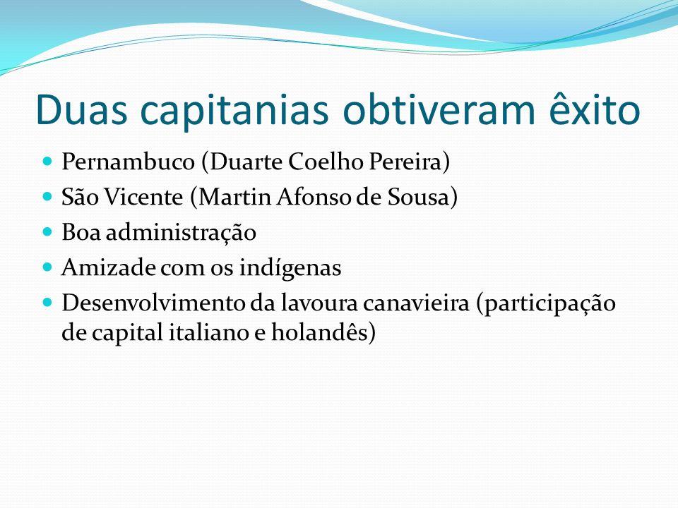 Duas capitanias obtiveram êxito Pernambuco (Duarte Coelho Pereira) São Vicente (Martin Afonso de Sousa) Boa administração Amizade com os indígenas Desenvolvimento da lavoura canavieira (participação de capital italiano e holandês)