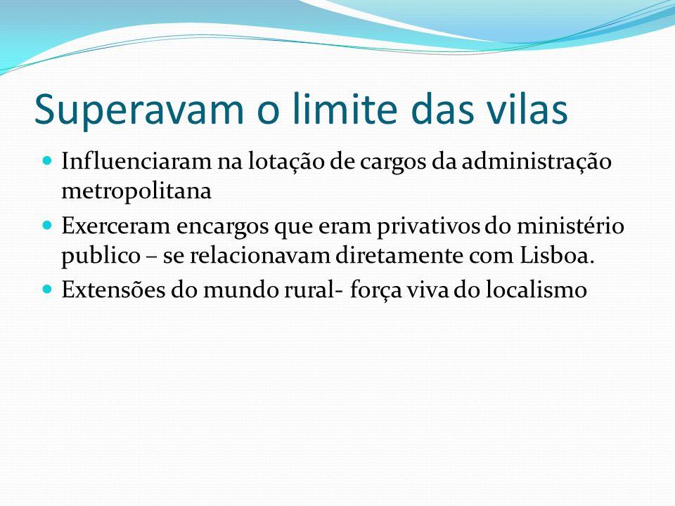 Superavam o limite das vilas Influenciaram na lotação de cargos da administração metropolitana Exerceram encargos que eram privativos do ministério publico – se relacionavam diretamente com Lisboa.