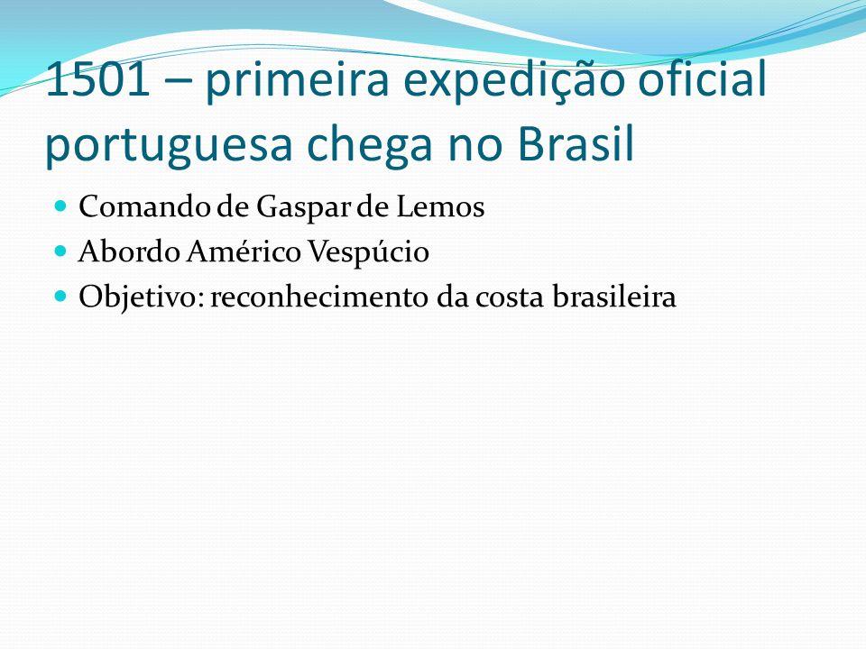 1501 – primeira expedição oficial portuguesa chega no Brasil Comando de Gaspar de Lemos Abordo Américo Vespúcio Objetivo: reconhecimento da costa brasileira