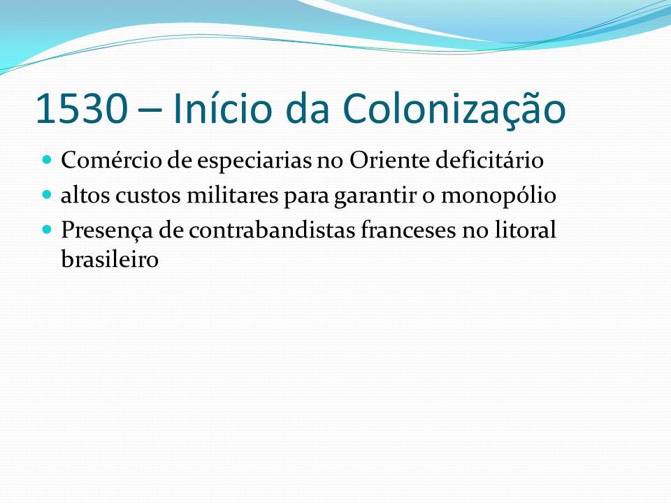1530 – Início da Colonização Comércio de especiarias no Oriente deficitário altos custos militares para garantir o monopólio Presença de contrabandistas franceses no litoral brasileiro