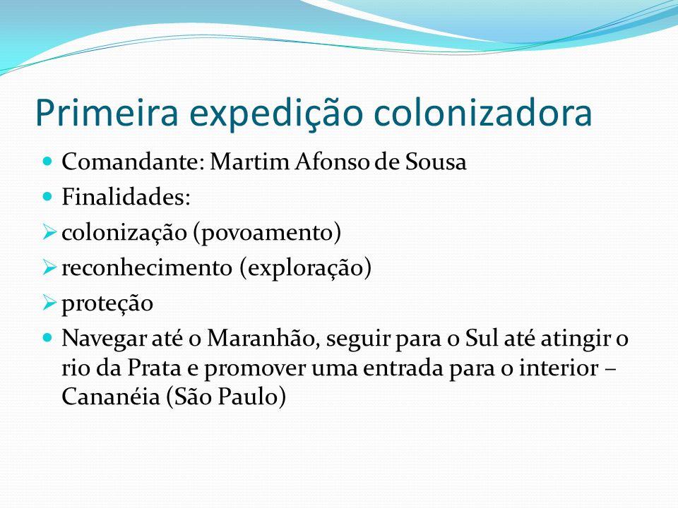 Primeira expedição colonizadora Comandante: Martim Afonso de Sousa Finalidades: colonização (povoamento) reconhecimento (exploração) proteção Navegar até o Maranhão, seguir para o Sul até atingir o rio da Prata e promover uma entrada para o interior – Cananéia (São Paulo)