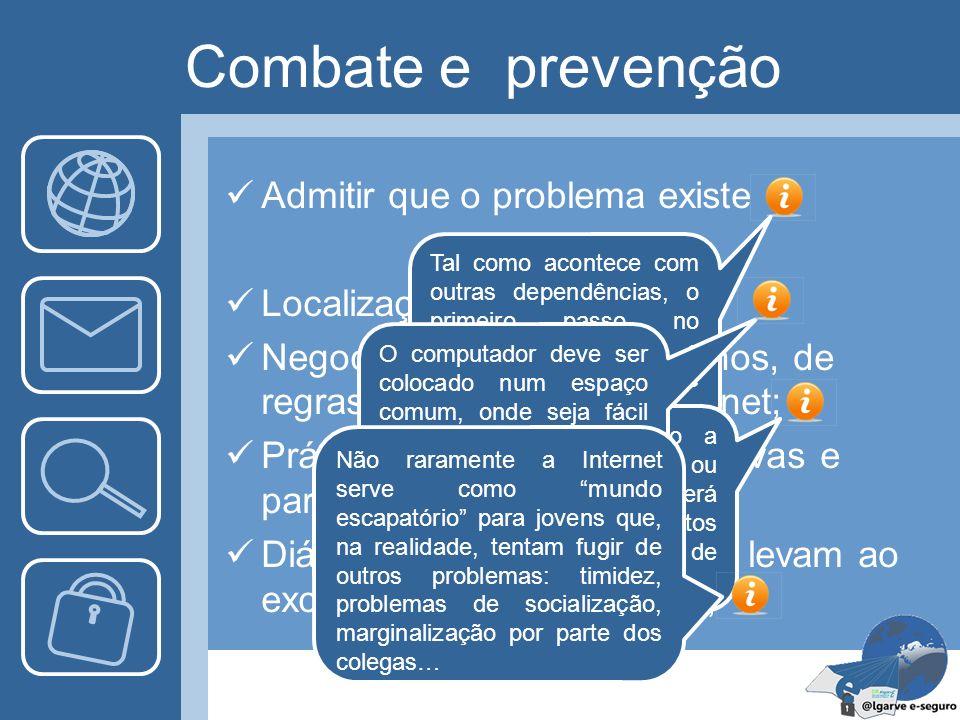 Combate e prevenção Admitir que o problema existe Localização do Computador Negociação, entre pais e filhos, de regras de utilização da Internet; Prát