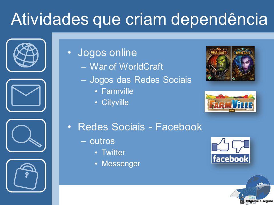Atividades que criam dependência Jogos online –War of WorldCraft –Jogos das Redes Sociais Farmville Cityville Redes Sociais - Facebook –outros Twitter