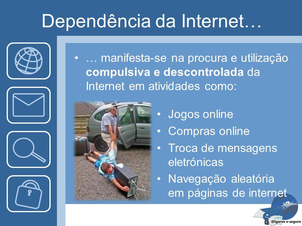 Dependência da Internet… … manifesta-se na procura e utilização compulsiva e descontrolada da Internet em atividades como: Jogos online Compras online
