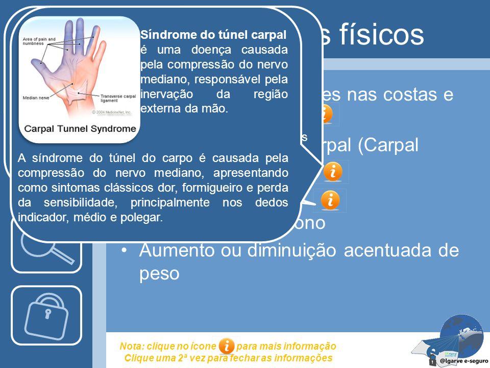 Efeitos secundários físicos Dores de cabeça, dores nas costas e na zona do pescoço Síndrome de túnel carpal (Carpal Tunnel Syndrome) Olhos secos Pertu