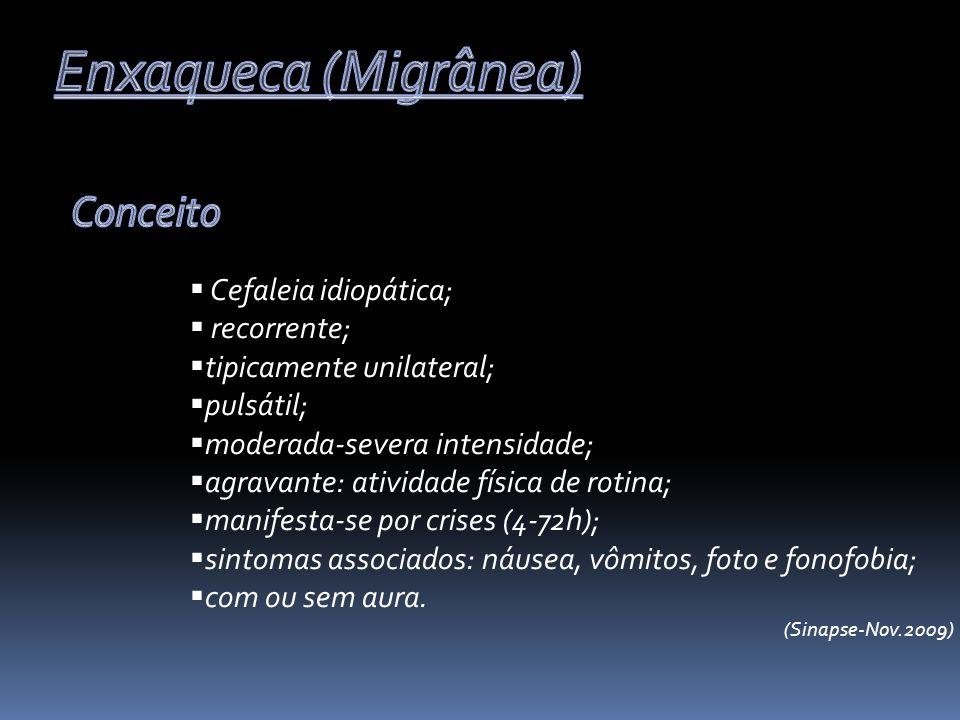 Cefaleia idiopática; recorrente; tipicamente unilateral; pulsátil; moderada-severa intensidade; agravante: atividade física de rotina; manifesta-se po