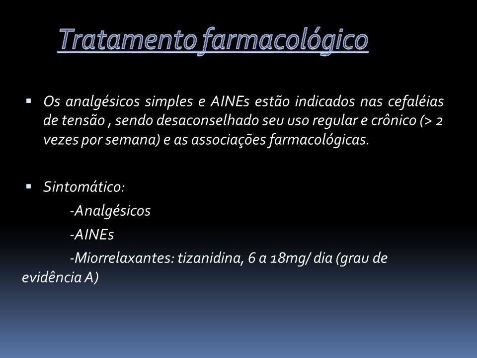 Os analgésicos simples e AINEs estão indicados nas cefaléias de tensão, sendo desaconselhado seu uso regular e crônico (> 2 vezes por semana) e as ass