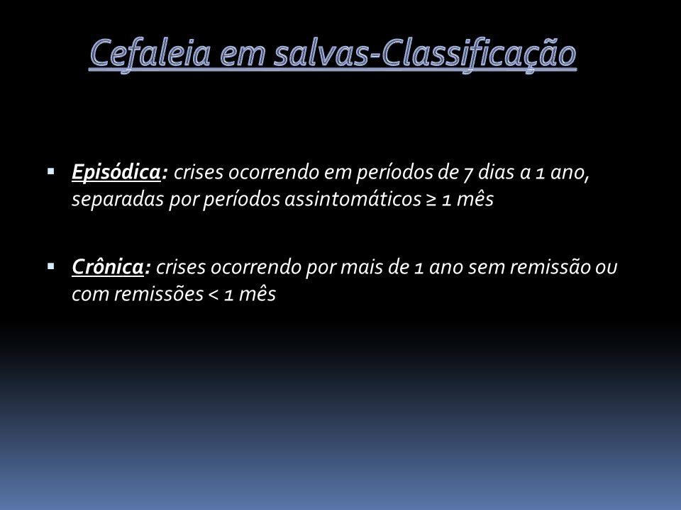 Episódica: crises ocorrendo em períodos de 7 dias a 1 ano, separadas por períodos assintomáticos 1 mês Crônica: crises ocorrendo por mais de 1 ano sem