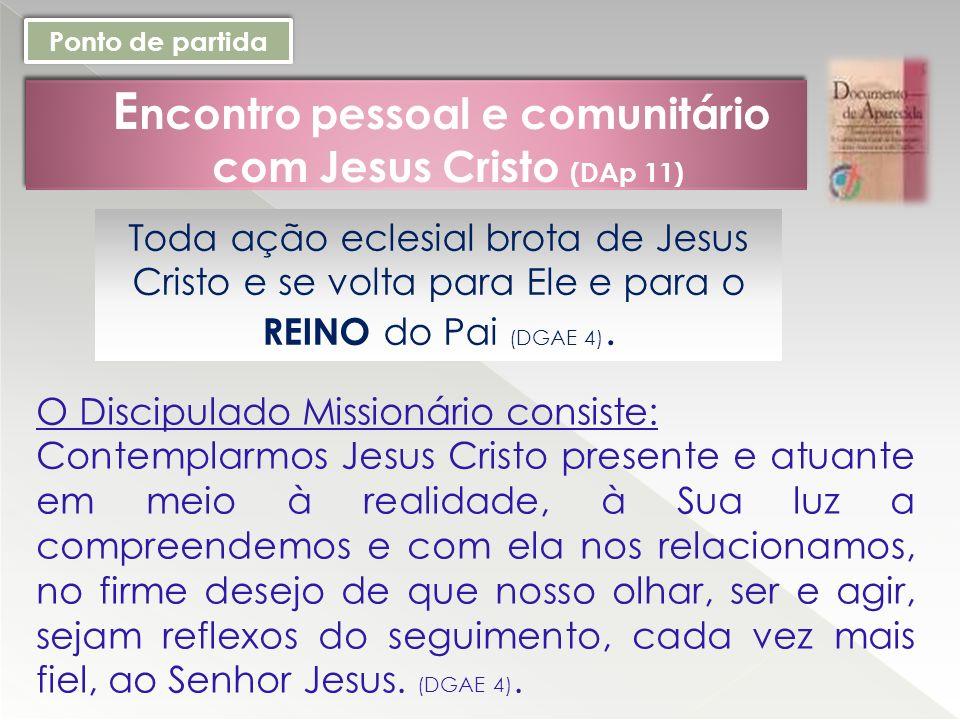 E ncontro pessoal e comunitário com Jesus Cristo (DAp 11) Ponto de partida Toda ação eclesial brota de Jesus Cristo e se volta para Ele e para o REINO do Pai (DGAE 4).